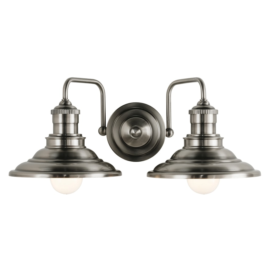 Shop allen roth 2 light hainsbrook antique pewter for Bathroom 2 light fixtures