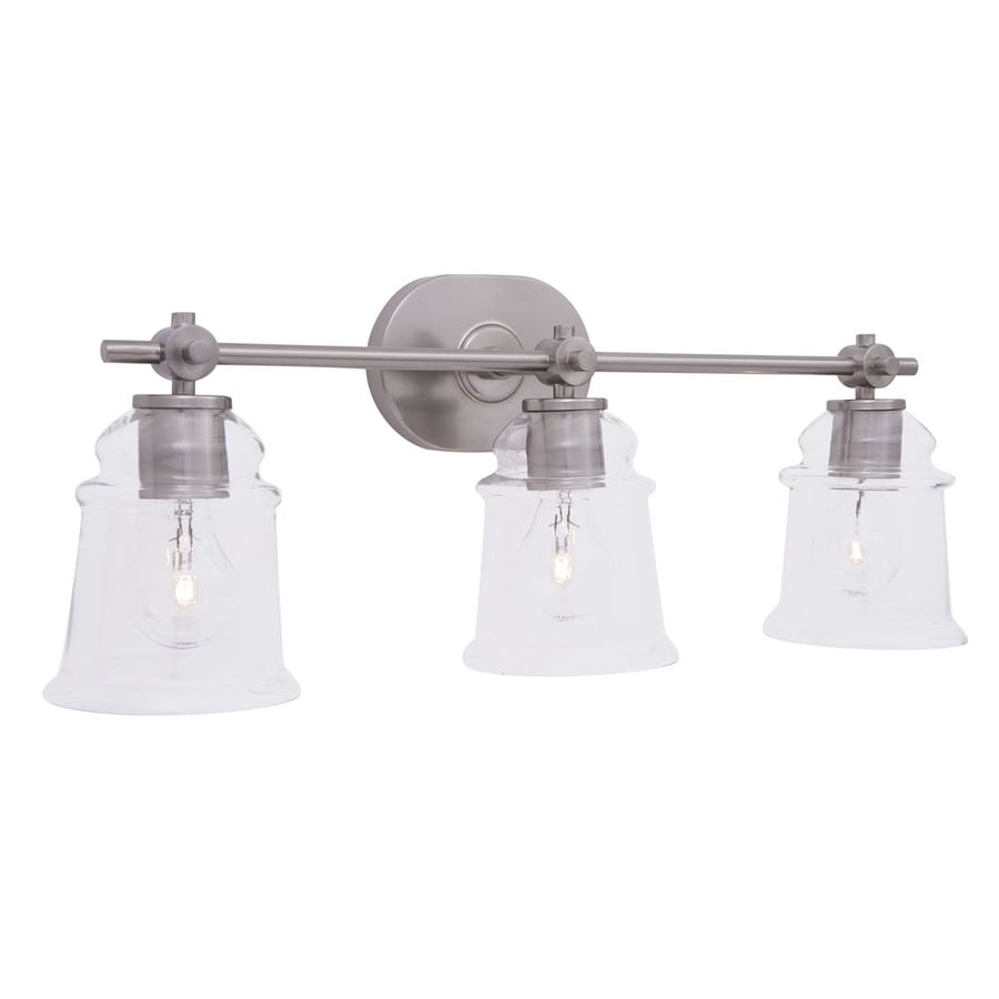 Shop allen roth winbrell 3 light brushed nickel bell for Bathroom lighting fixtures