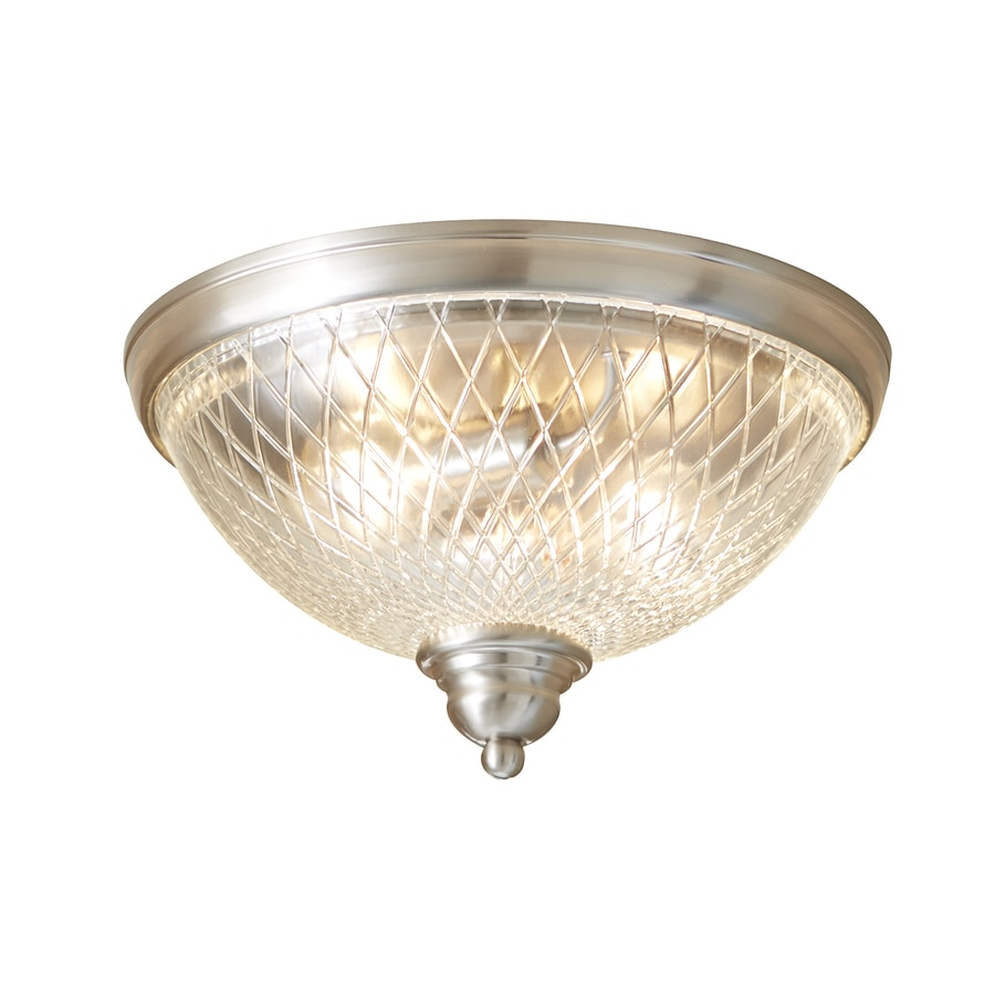 allen + roth Cardington 12.99-in W Brushed Nickel Ceiling Flush Mount Light