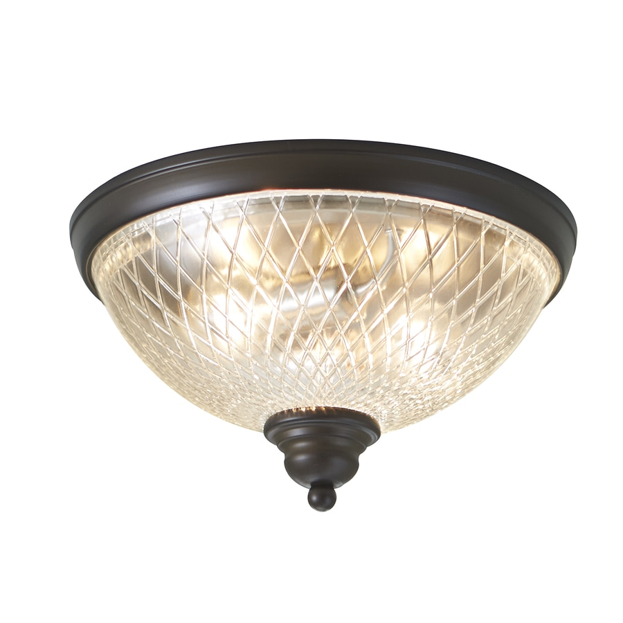 allen + roth Cardington 12.99-in W Aged Bronze Ceiling Flush Mount Light