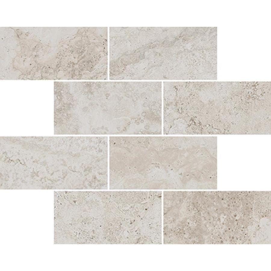Style Selections Geneseo Beige Subway Mosaic Porcelain Floor and Wall Tile (Common: 12-in x 12-in; Actual: 11.65-in x 11.65-in)