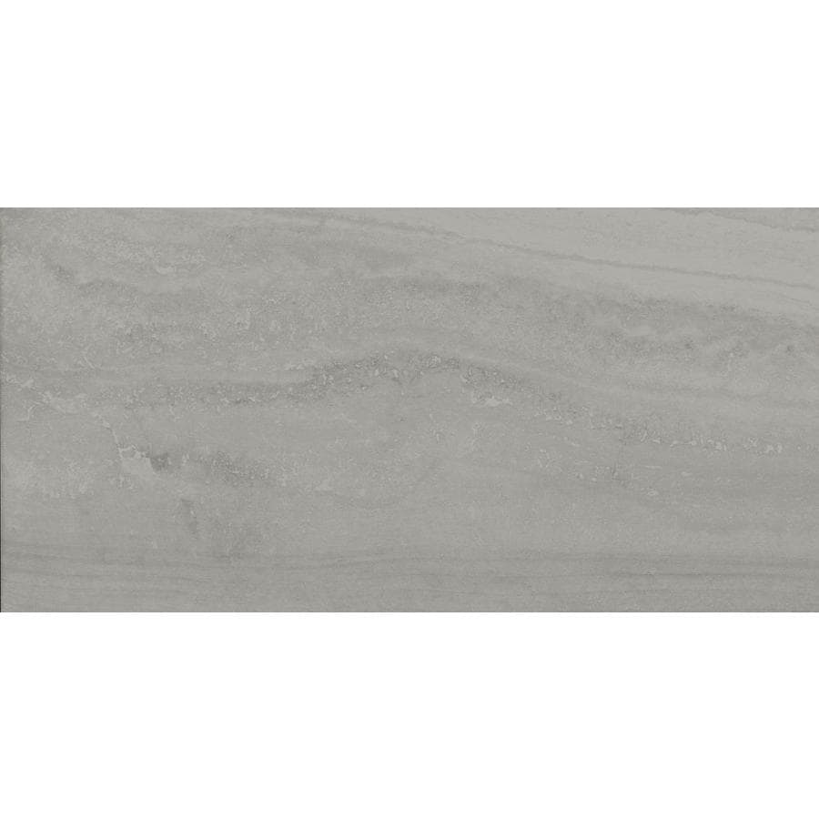 Style Selections Ridgemont Silver Porcelain Floor and Wall Tile (Common: 12-in x 24-in; Actual: 11.68-in x 23.56-in)
