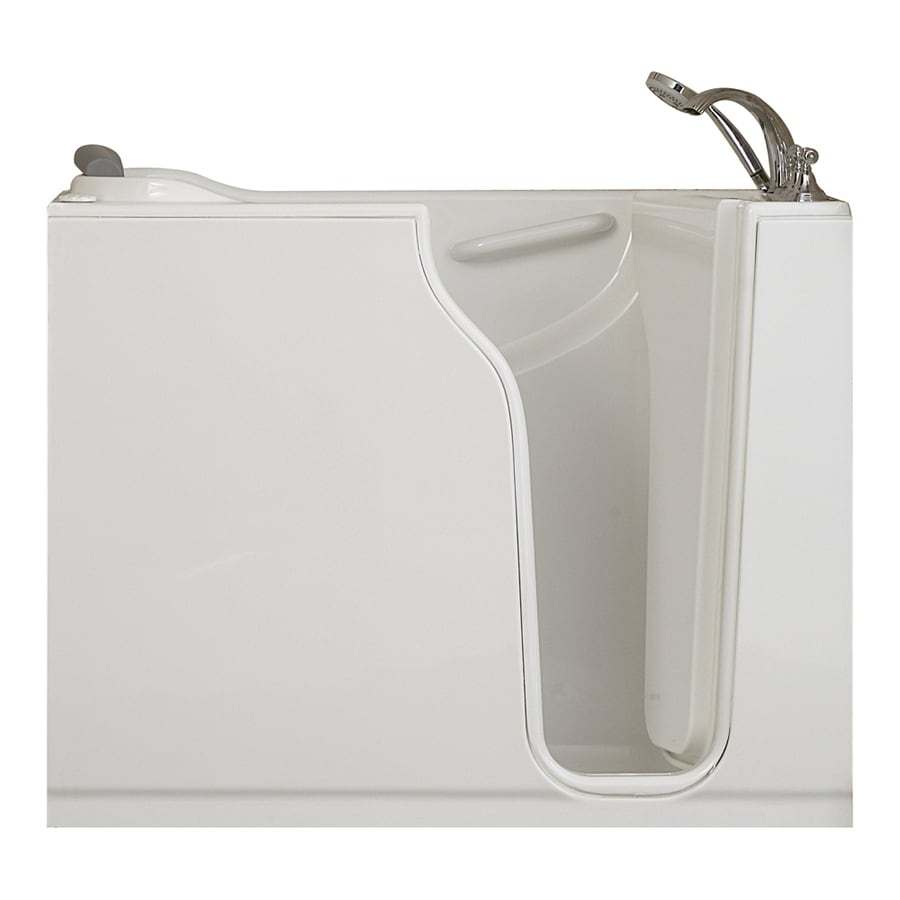 American Standard 52-in L x 30-in W x 42-in H White Gelcoat and Fiberglass Rectangular Walk-In Bathtub with Right-Hand Drain