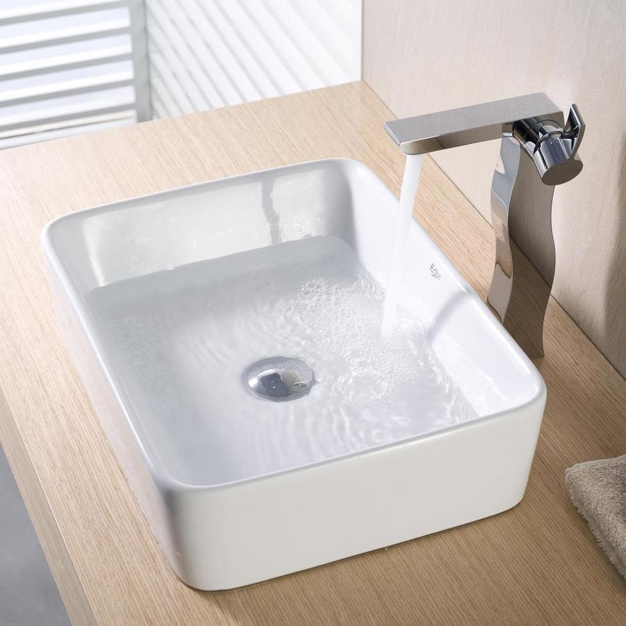 ... Kraus White Vessel Rectangular Bathroom Sink (Drain Included) at Lowes