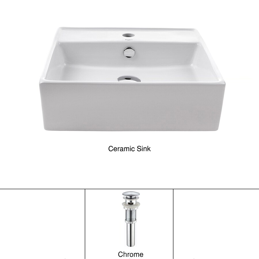 Kraus White Vessel Square Bathroom Sink (Drain Included)
