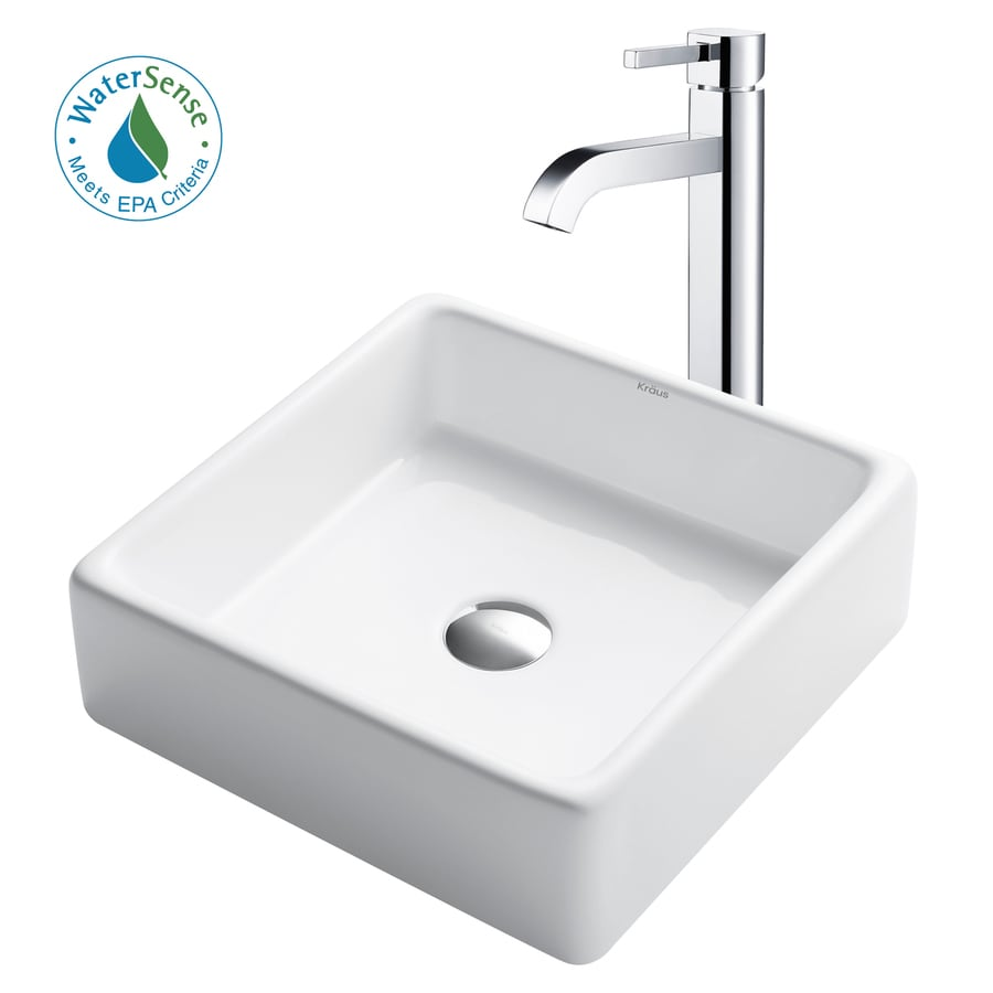 Shop Kraus White Ceramic Chrome Vessel Square Bathroom Sink With Faucet Drain Included At