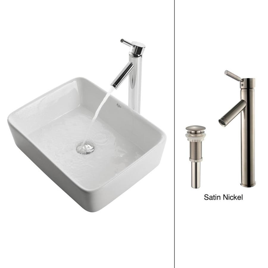 Kraus White Ceramic Satin Nickel Vessel Rectangular Bathroom Sink with Faucet (Drain Included)