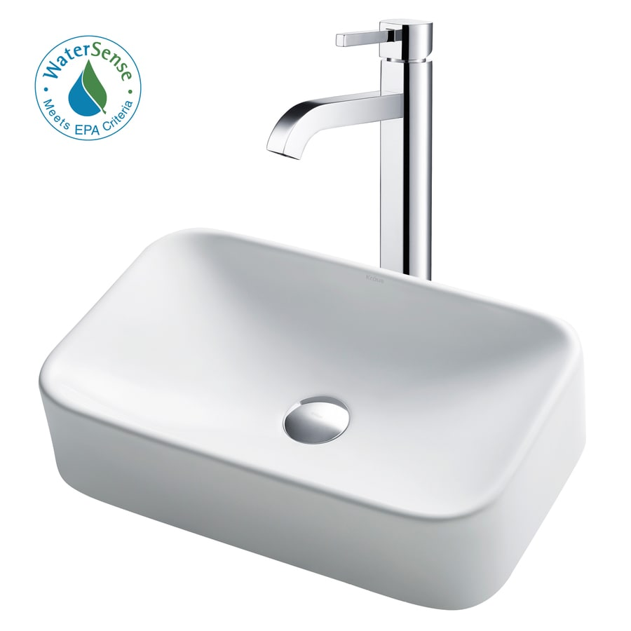 White Ceramic Chrome Vessel Rectangular Bathroom Sink with Faucet (Drain Included) Product Photo