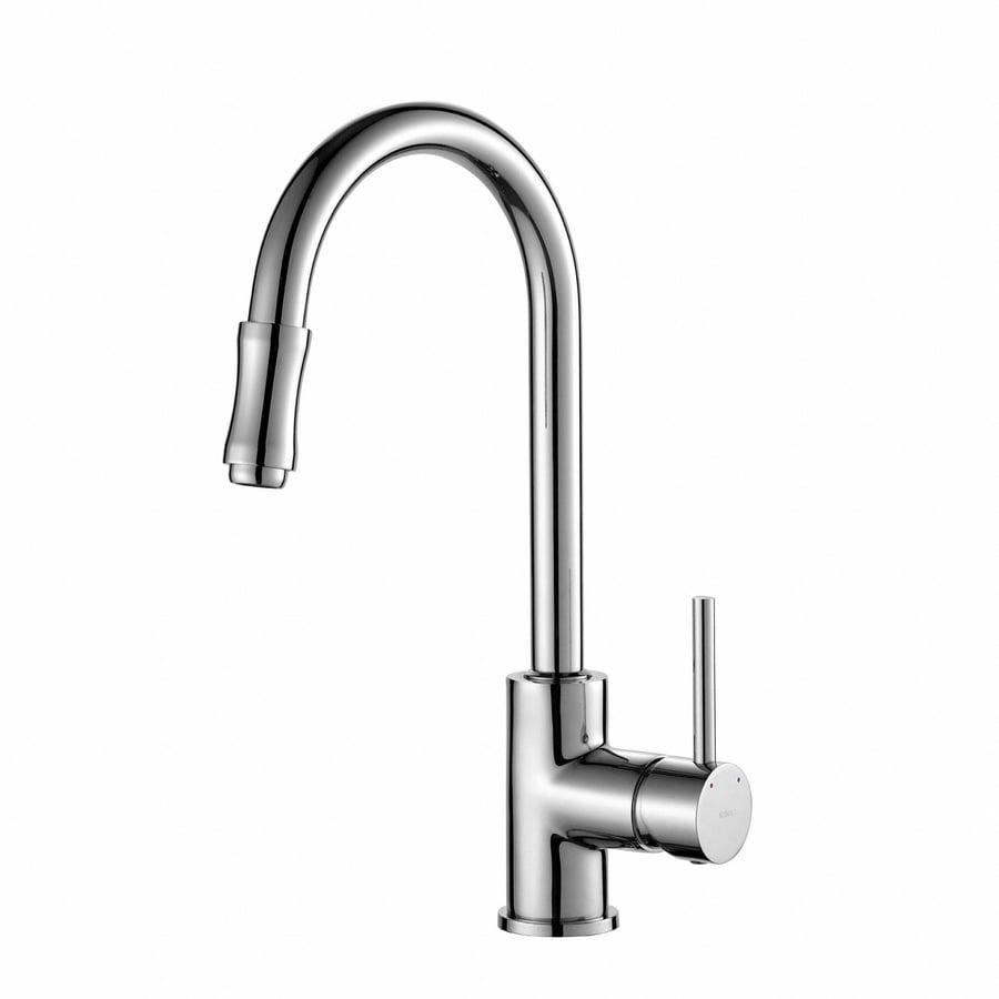 shop kraus premium kitchen faucet chrome 1 handle pull shop kraus premium kitchen faucet satin nickel 1 handle