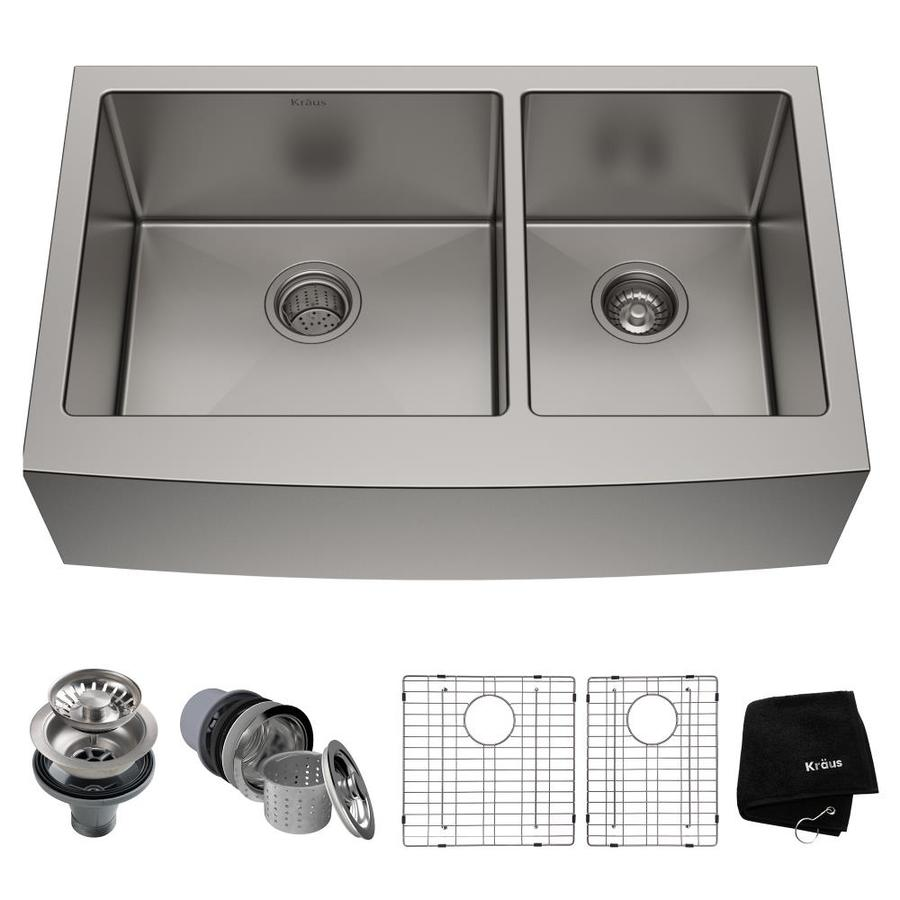 Kraus Kitchen Sink 20.75-in x 32.9-in Stainless Steel Double-Basin Apron Front/Farmhouse Residential Kitchen Sink All-In-One Kit