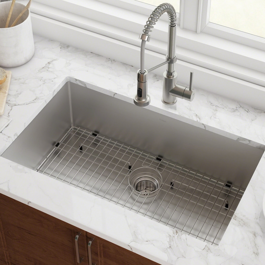 Kitchen Sink Sizes Lowes: Shop Kraus Handmade 19-in X 32-in Stainless Steel Single