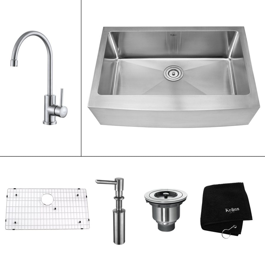 Kraus Kitchen Combo 20-in x 29.75-in Steel-Stainless Single-Basin Apron Front/Farmhouse Kitchen Sink
