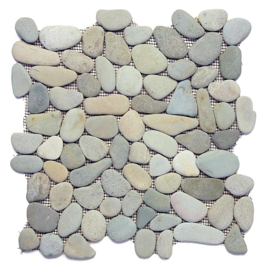 Solistone River Rock Pebbles 10-Pack Turquoise Mosaic Floor Tile (Common: 12-in x 12-in; Actual: 12-in x 12-in)