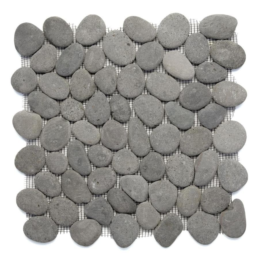 Solistone River Rock Pebbles 10-Pack River Gray Mosaic Floor Tile (Common: 12-in x 12-in; Actual: 12-in x 12-in)