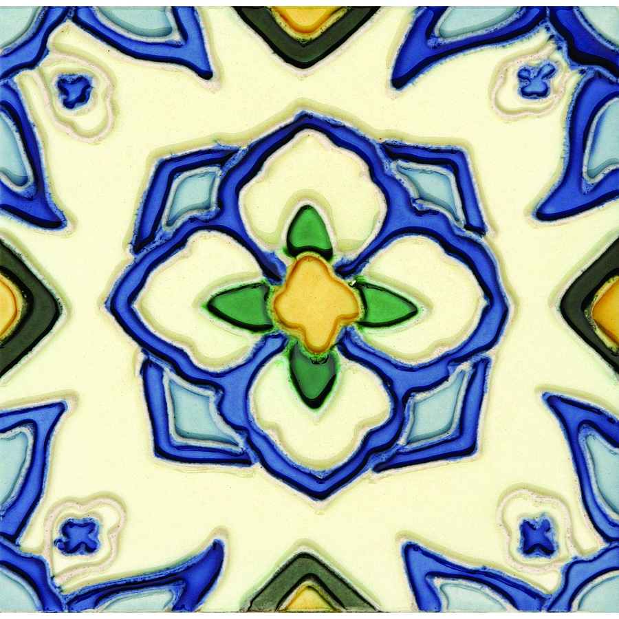 Solistone Hand-Painted Ceramic 10-Pack Jirasol Ceramic Wall Tile (Common: 6-in x 6-in; Actual: 6-in x 6-in)