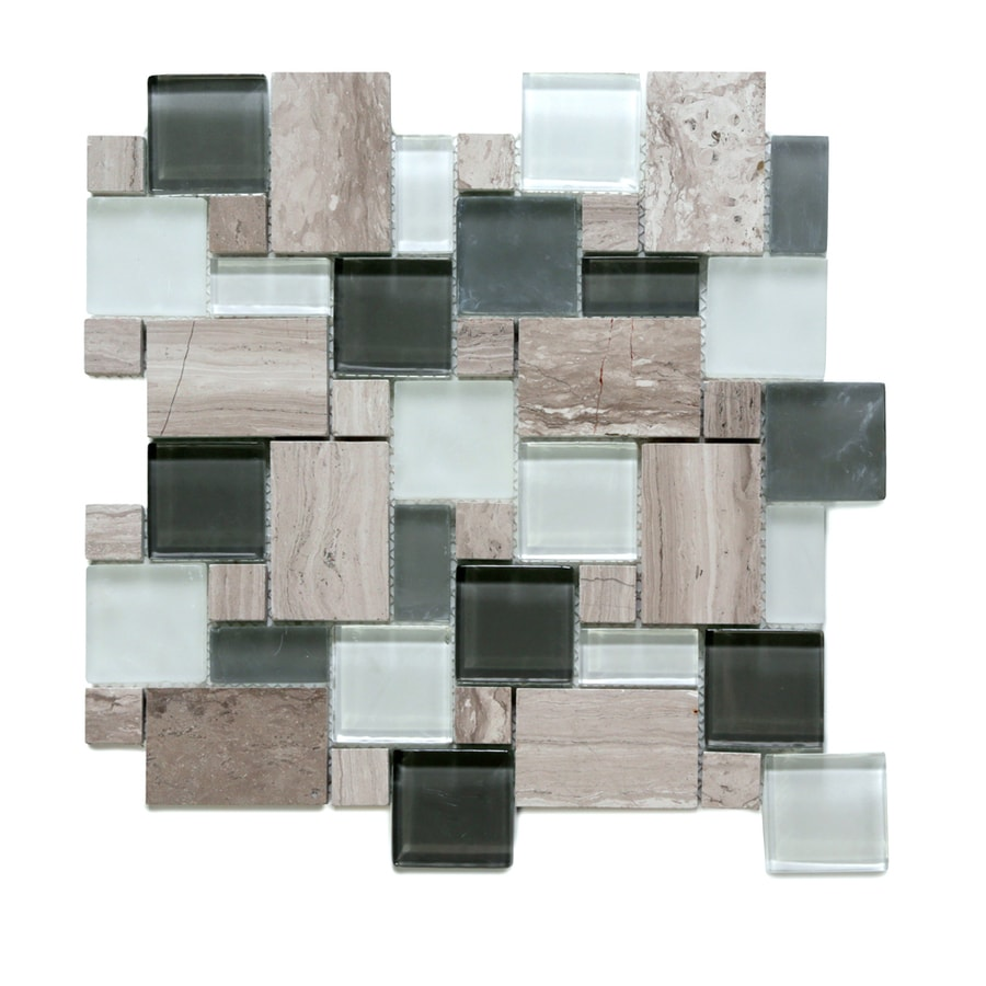 Solistone Opera Glass 10-Pack Bel Canto Light Mixed Pattern Mosaic Stone and Glass Marble Wall Tile (Common: 12-in x 12-in; Actual: 11.75-in x 11.75-in)