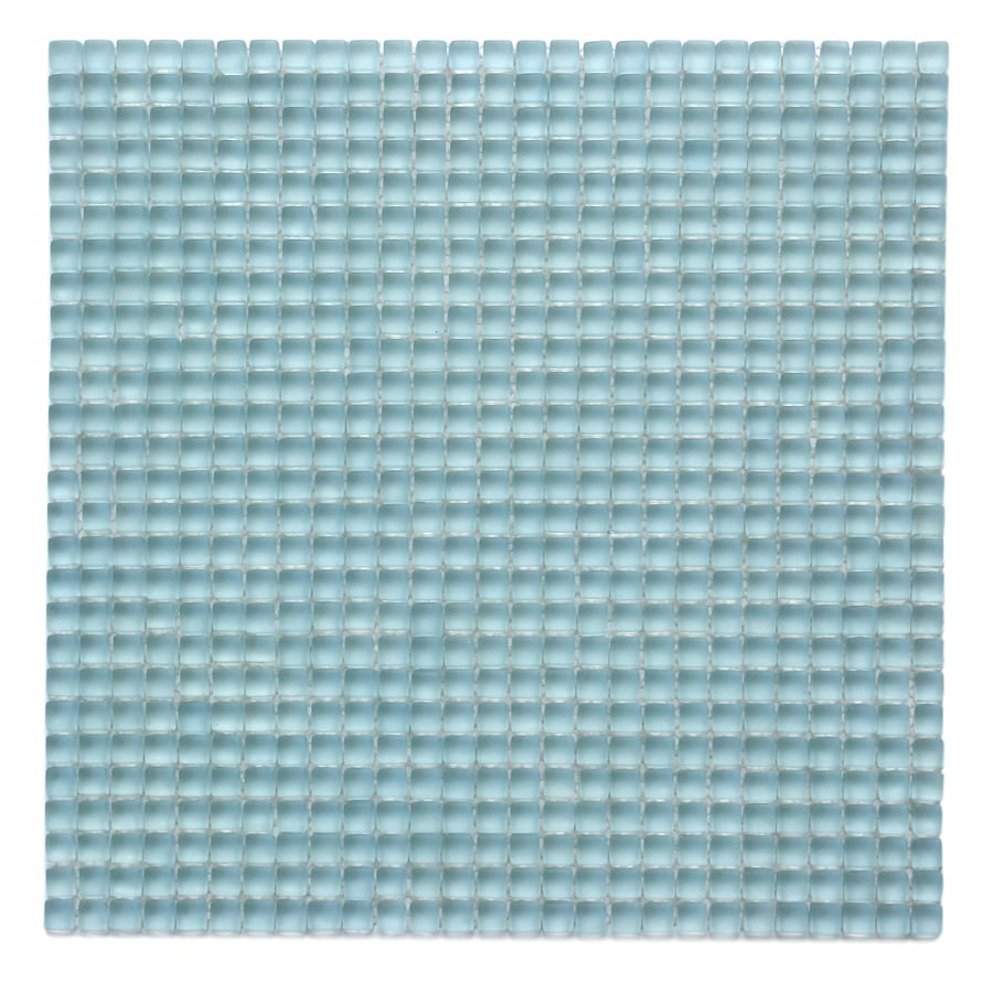 Solistone Atlantis Glass 10-Pack Marina Light Frosted Uniform Squares Mosaic Glass Wall Tile (Common: 12-in x 12-in; Actual: 11.75-in x 11.75-in)