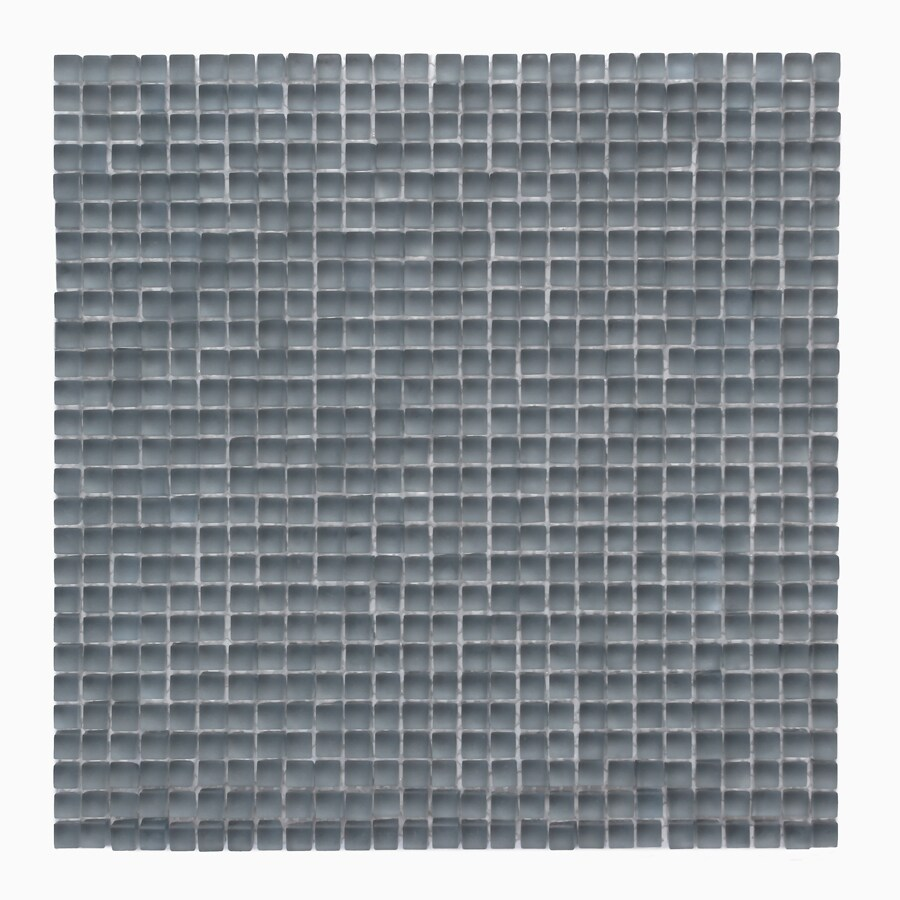 Solistone Atlantis Glass 10-Pack Beluga Dark Frosted Uniform Squares Mosaic Glass Wall Tile (Common: 12-in x 12-in; Actual: 11.75-in x 11.75-in)