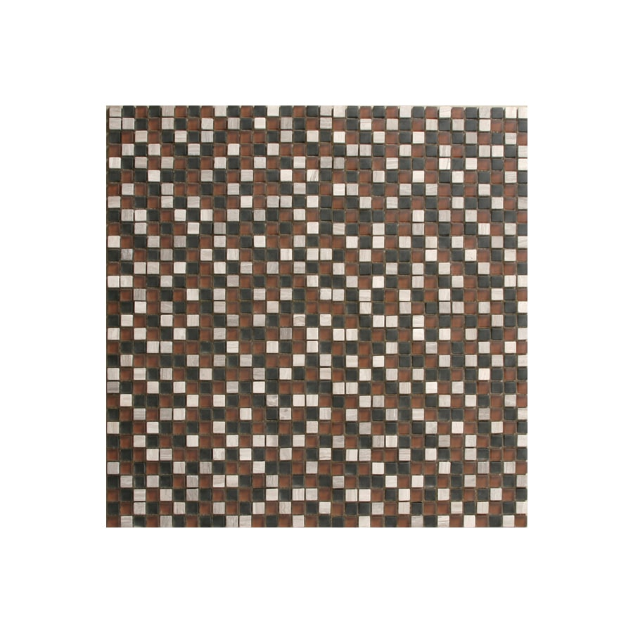 Solistone Opera Glass 10-Pack Multicolor Uniform Squares Mosaic Glass/Metal/Stone Wall Tile (Common: 12-in x 12-in; Actual: 12-in x 12-in)
