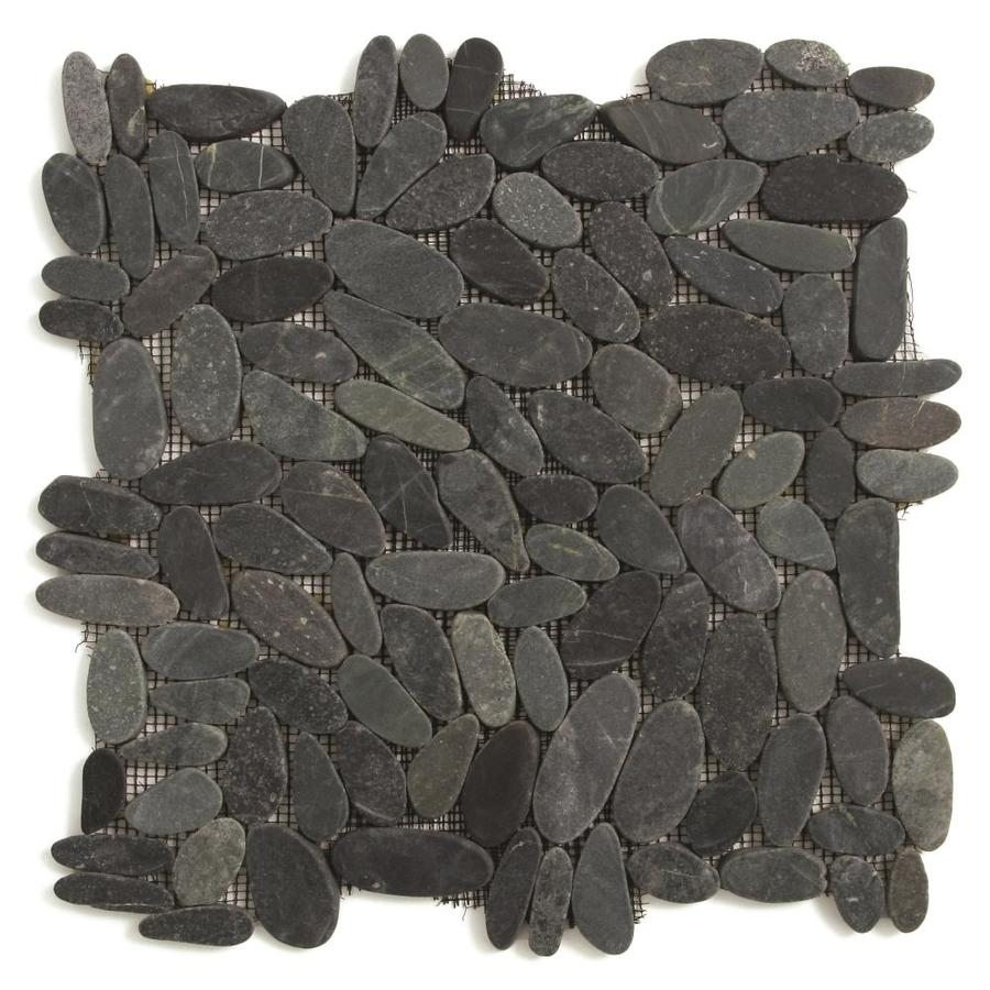 Solistone Kuala Pebbles 10-Pack Komodo Black Pebble Mosaic Floor and Wall Tile (Common: 12-in x 12-in; Actual: 12-in x 12-in)