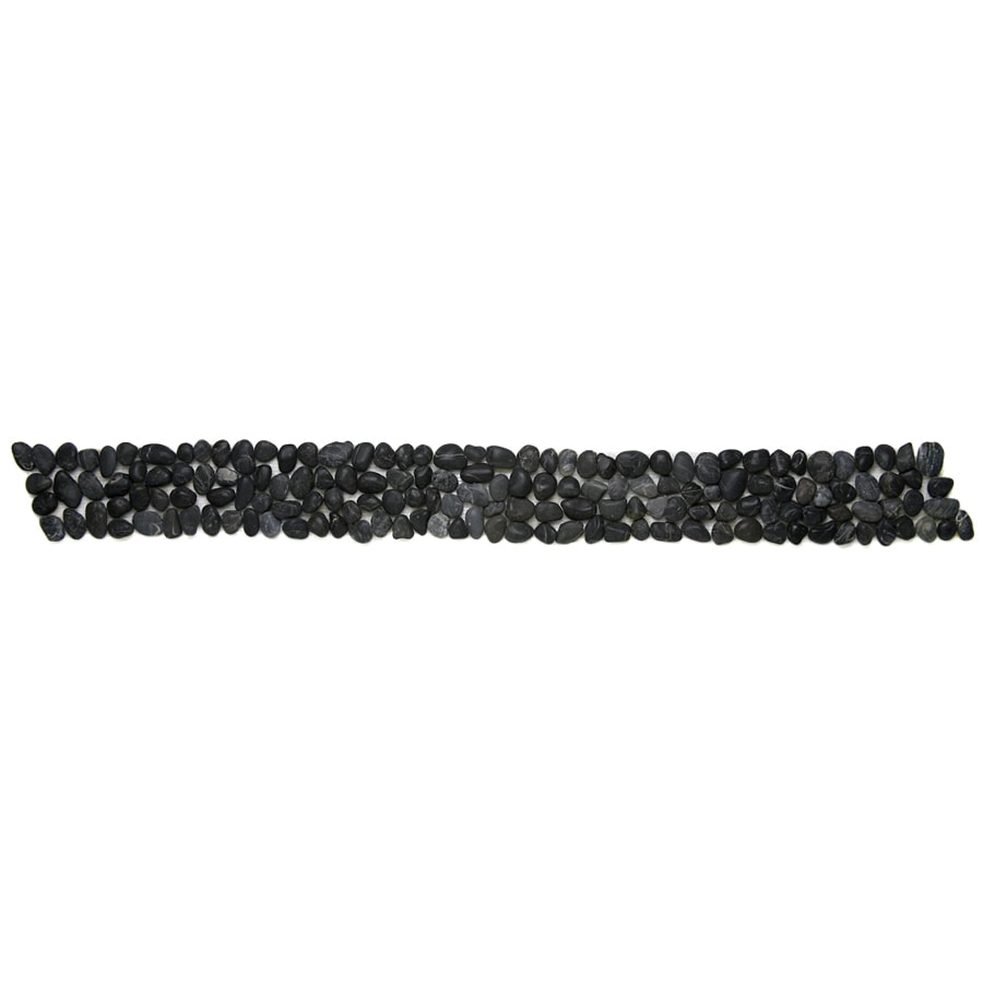 Solistone 9-Pack Anatolia Pebbles Honed Black Sea Natural Stone Mosaic Random Indoor/Outdoor Floor Tile (Common: 4-in x 39-in; Actual: 4-in x 39-in)