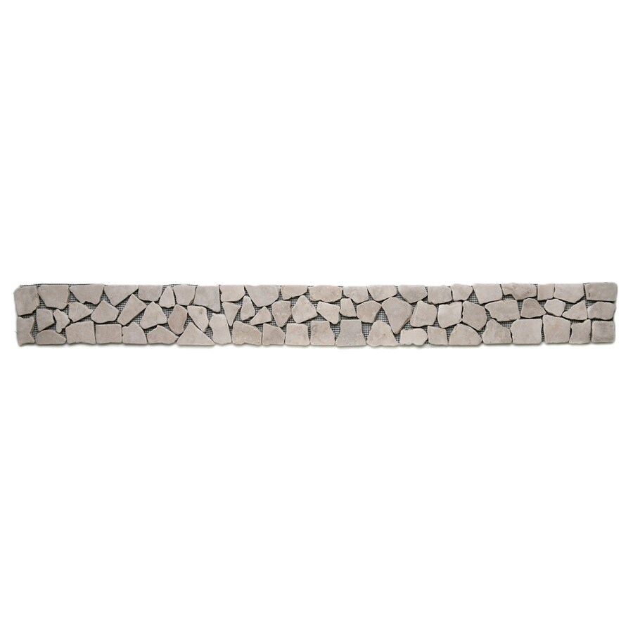 Solistone 9-Pack Indonesian Pebbles Jakarta Moon Natural Stone Mosaic Random Indoor/Outdoor Floor Tile (Common: 4-in x 39-in; Actual: 4-in x 39-in)