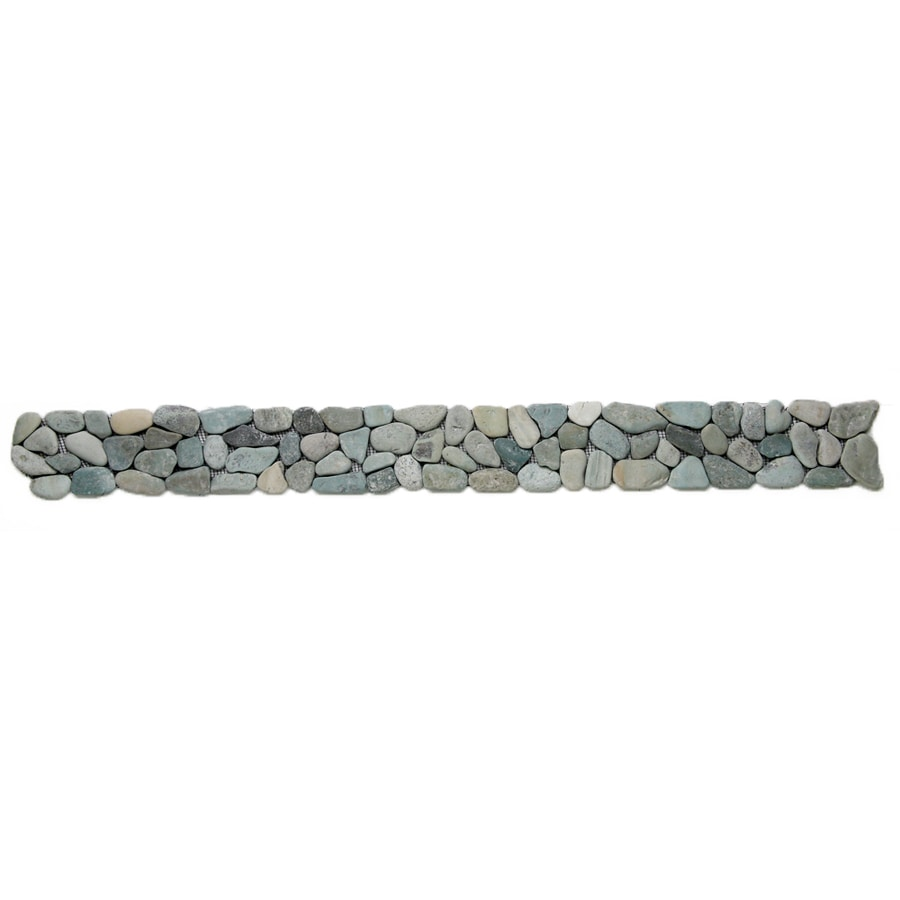 Solistone 9-Pack River Rock Pebbles Turquoise Natural Stone Mosaic Random Indoor/Outdoor Floor Tile (Common: 4-in x 39-in; Actual: 4-in x 39-in)