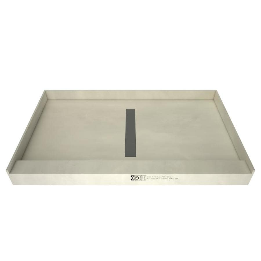 Redi Trench Gray Molded Polyurethane Shower Base (Common: 60-in W x 34-in L; Actual: 60-in W x 34-in L)