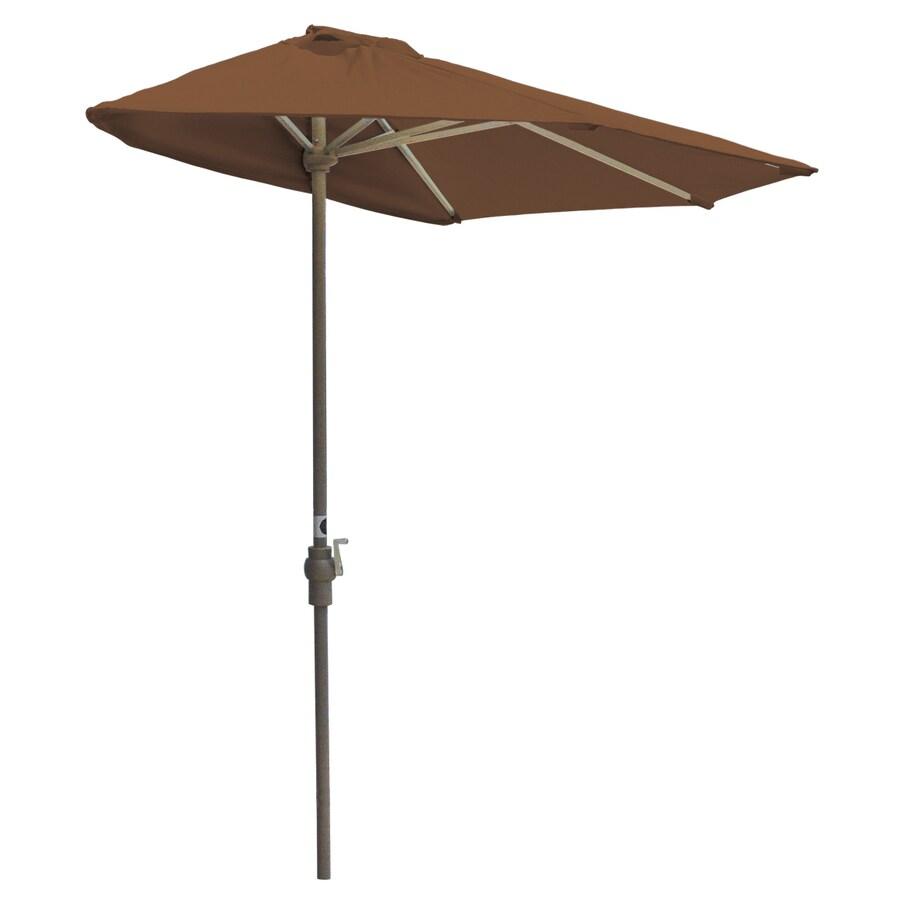 Blue Star Group Off-The-Wall Brella Teak Half-Round Patio Umbrella (Common: 9-ft W x 4.5-ft L; Actual: 8.83-ft W x 4.5-ft L)