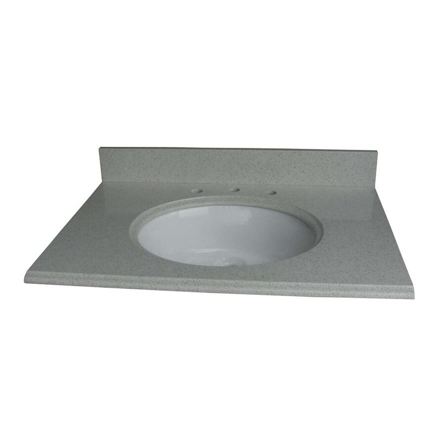 allen + roth Cinquefoil White Quartz Undermount Single Sink Bathroom Vanity Top (Common: 31-in x 22-in; Actual: 31-in x 22-in)