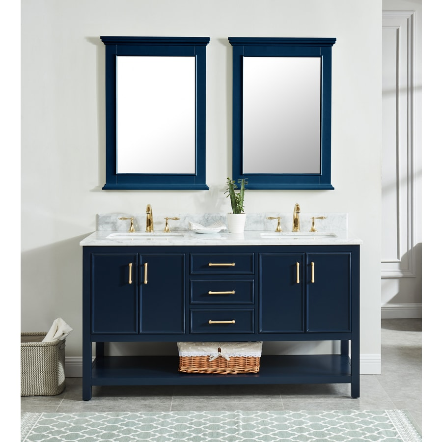 Allen Roth Presnell 61 In Navy Blue Undermount Double Sink Bathroom Vanity With Carrara White Natural Marble Top In The Bathroom Vanities With Tops Department At Lowes Com