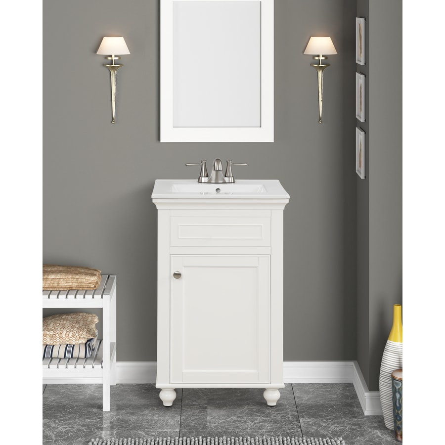 Style Selections Bartlett 20 In White Single Sink Bathroom Vanity With White Porcelain Top In The Bathroom Vanities With Tops Department At Lowes Com