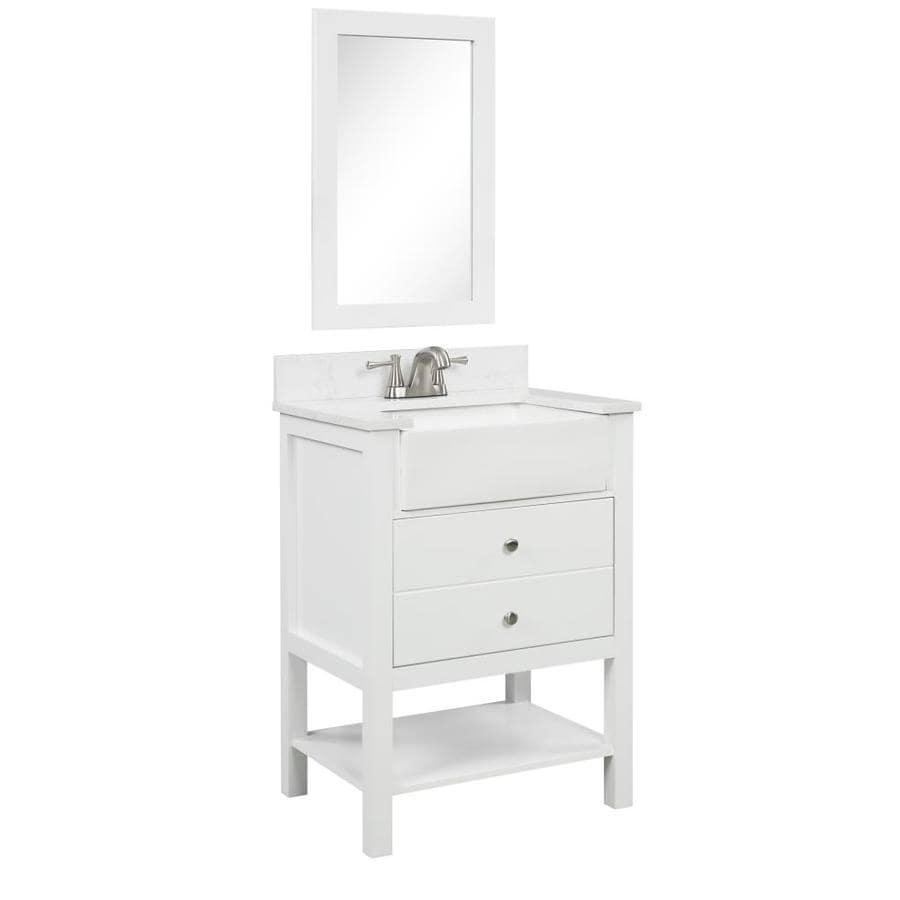 Style Selections 25 In White Farmhouse Single Sink Bathroom Vanity With White Engineered Stone Top Mirror Included In The Bathroom Vanities With Tops Department At Lowes Com