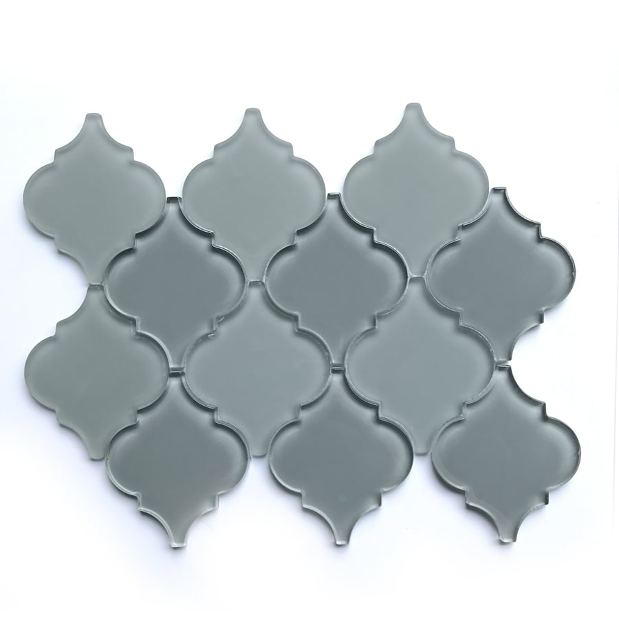 Bestview Grey Lantern Mosaic Glass Wall Tile (Common: 9-in x 12-in; Actual: 11.81-in x 8.6-in)
