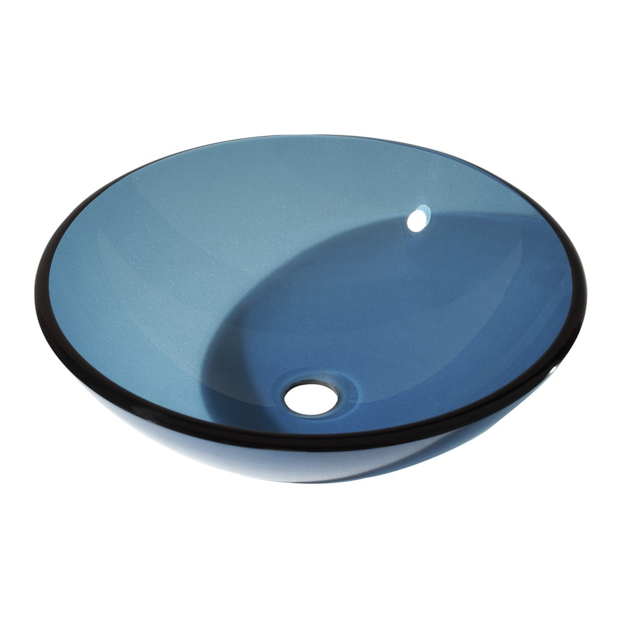 Shop avanity blue tempered glass vessel round bathroom for Tempered glass countertop