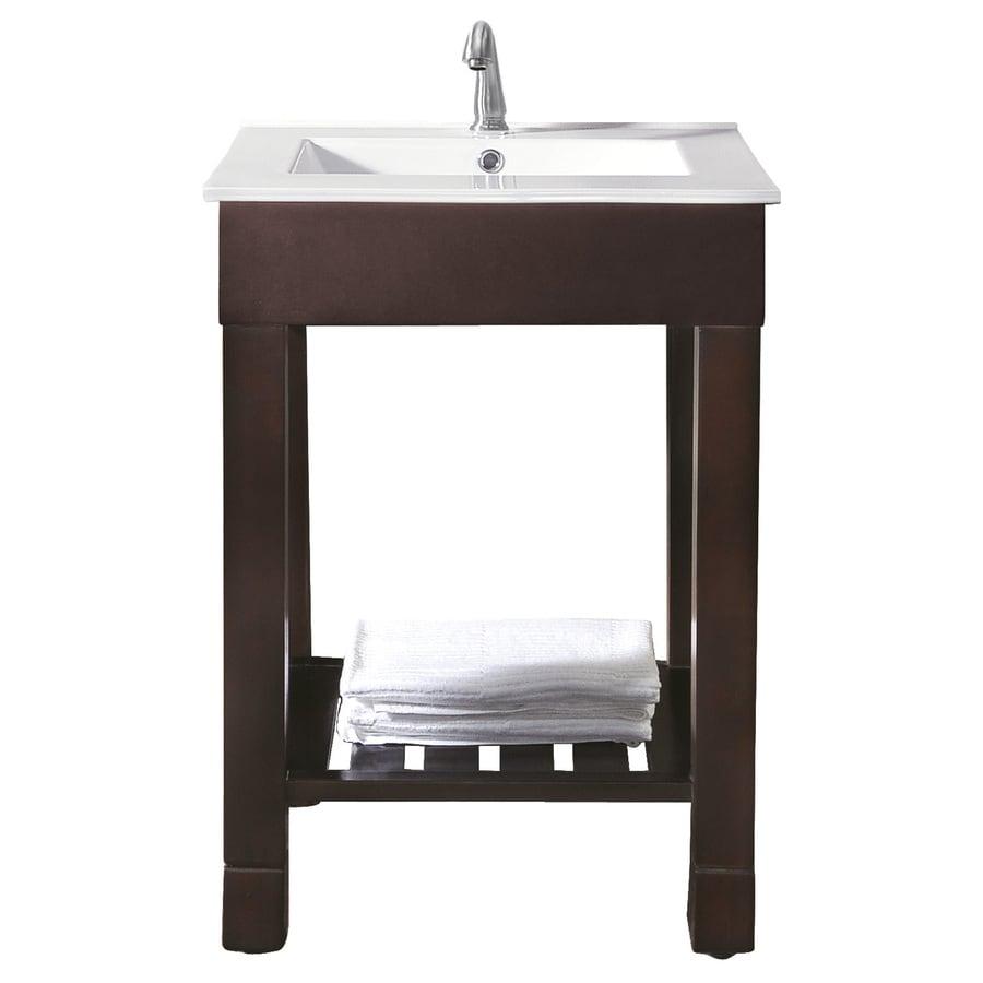 Avanity Loft Dark Walnut Integral Single Sink Poplar Bathroom Vanity with Vitreous China Top (Common: 25-in x 22-in; Actual: 25-in x 22-in)
