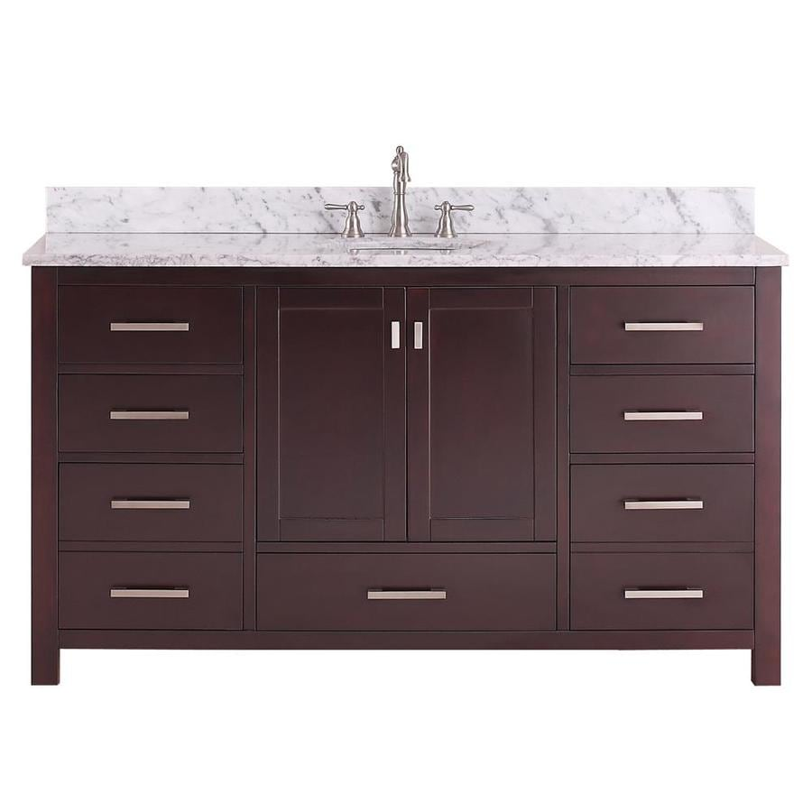 Avanity Modero Espresso Undermount Single Sink Poplar Bathroom Vanity with Natural Marble Top (Common: 61-in x 22-in; Actual: 61-in x 22-in)