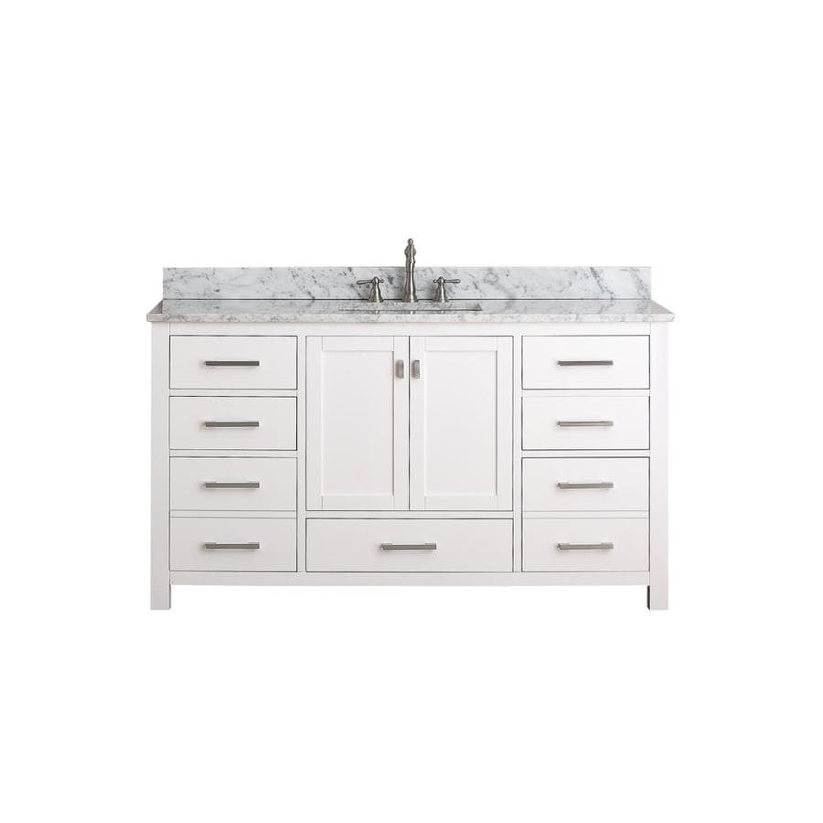 Avanity Modero White Undermount Single Sink Poplar Bathroom Vanity with Natural Marble Top (Common: 61-in x 22-in; Actual: 61-in x 22-in)
