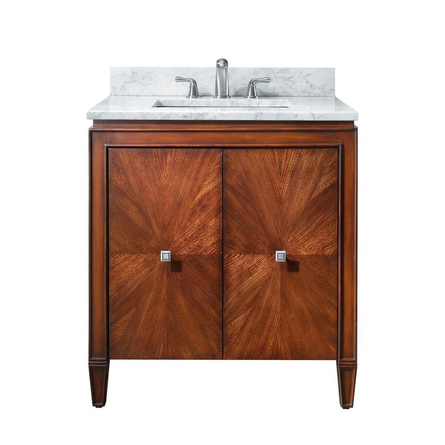 Avanity Brentwood New Walnut Undermount Single Sink Poplar Bathroom Vanity with Natural Marble Top (Common: 31-in x 22-in; Actual: 31-in x 22-in)