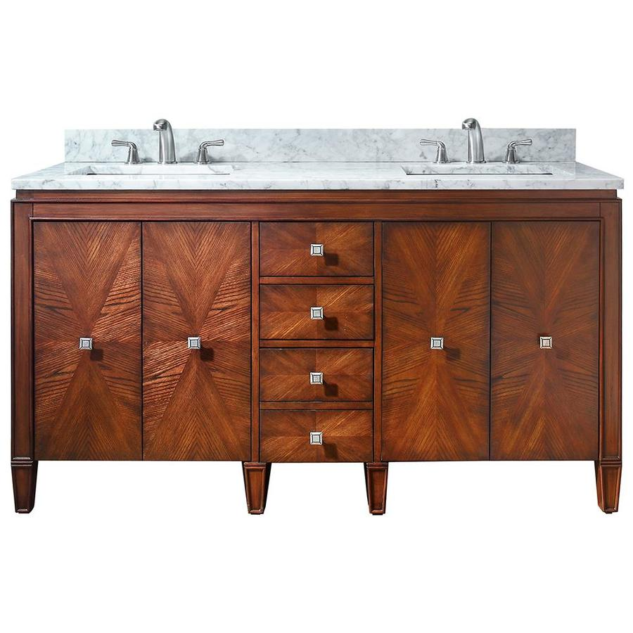 Avanity Brentwood New Walnut Undermount Double Sink Poplar Bathroom Vanity with Natural Marble Top (Common: 61-in x 22-in; Actual: 61-in x 22-in)