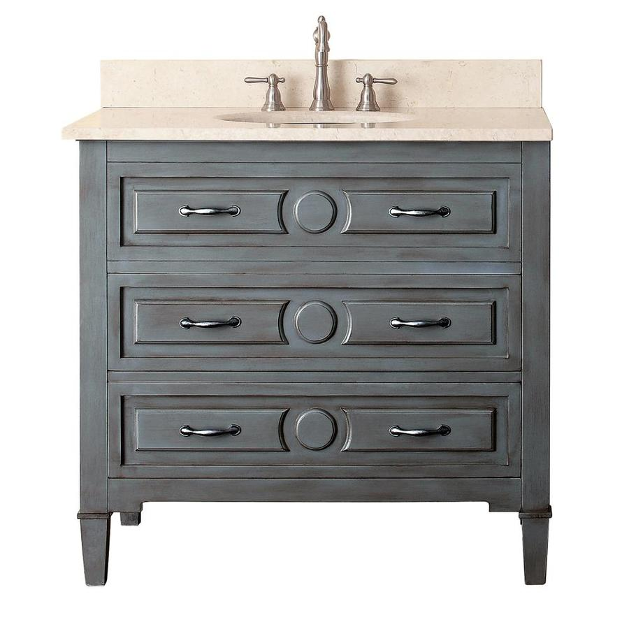 Avanity Kelly Grayish Blue Undermount Single Sink Poplar Bathroom Vanity with Natural Marble Top (Common: 37-in x 22-in; Actual: 37-in x 22-in)