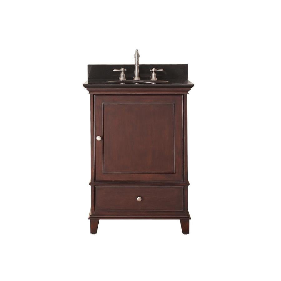 Shop avanity windsor walnut undermount single sink poplar bathroom vanity with granite top Marble top bathroom vanities