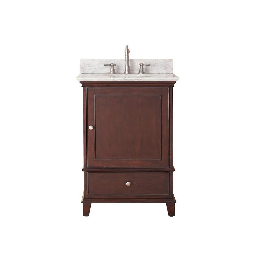 Avanity Windsor Walnut Undermount Single Sink Poplar Bathroom Vanity with Natural Marble Top (Common: 25-in x 22-in; Actual: 25-in x 22-in)