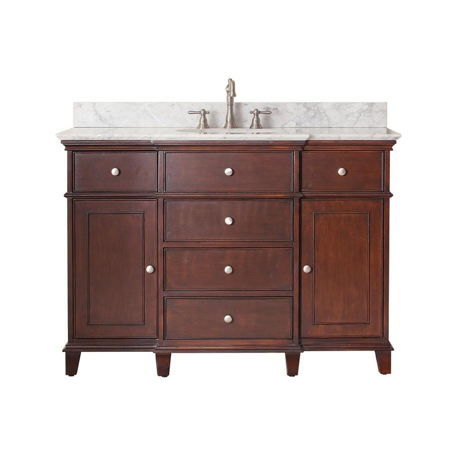 Avanity Windsor Walnut Undermount Single Sink Poplar Bathroom Vanity with Natural Marble Top (Common: 49-in x 22-in; Actual: 49-in x 22-in)