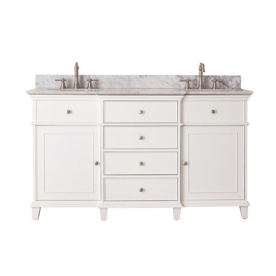 Avanity Windsor White Undermount Double Sink Poplar Bathroom Vanity with Natural Marble Top (Common: 61-in x 23-in; Actual: 61-in x 23-in)