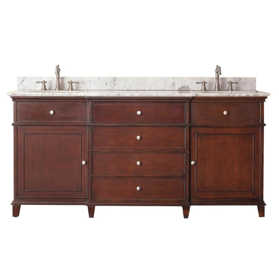 Avanity Windsor Walnut Undermount Double Sink Poplar Bathroom Vanity with Natural Marble Top (Common: 73-in x 23-in; Actual: 73-in x 23-in)