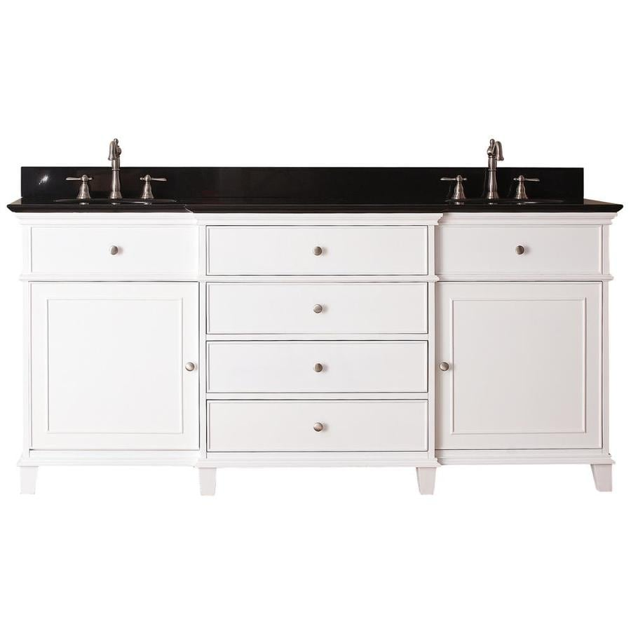 Shop Avanity Windsor White Undermount Double Sink Poplar Bathroom Vanity With Granite Top