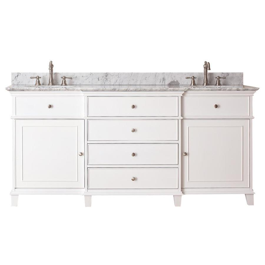 Avanity Windsor White Undermount Double Sink Poplar Bathroom Vanity with Natural Marble Top (Common: 73-in x 23-in; Actual: 73-in x 23-in)