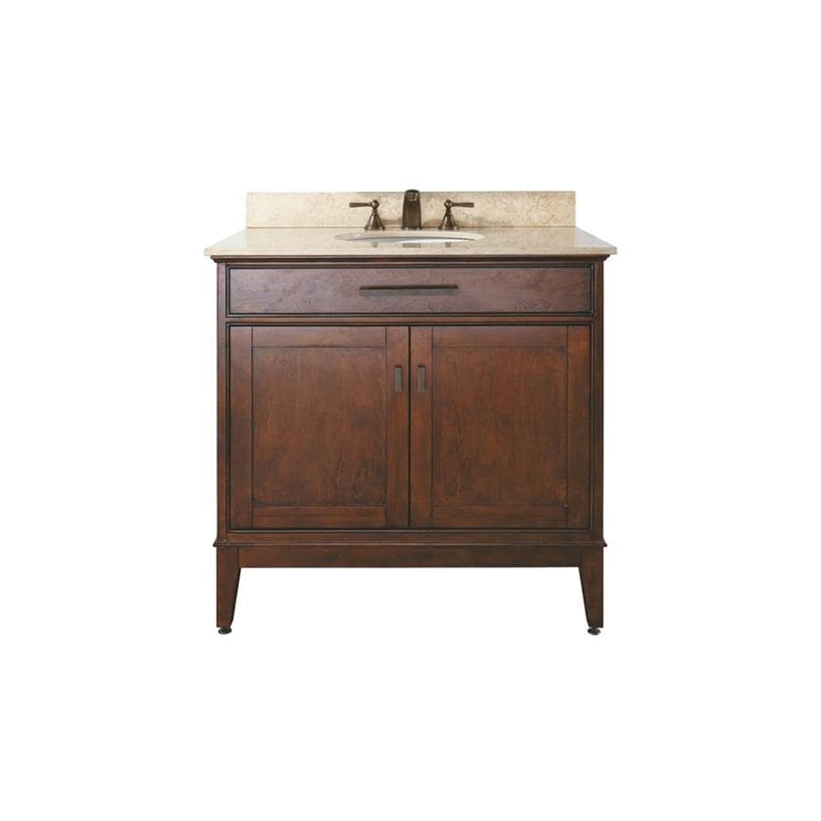 Avanity Madison Tobacco Undermount Single Sink Poplar Bathroom Vanity with Natural Marble Top (Common: 37-in x 22-in; Actual: 37-in x 22-in)