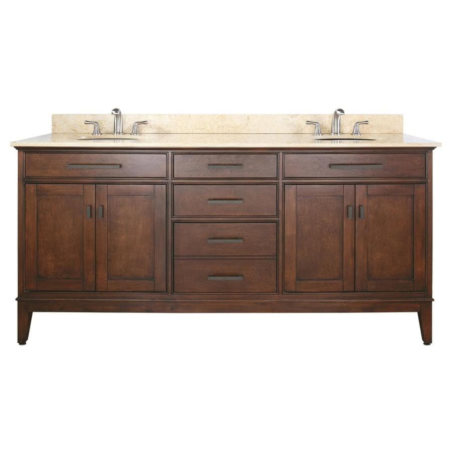 Avanity Madison Tobacco Undermount Double Sink Poplar Bathroom Vanity with Natural Marble Top (Common: 73-in x 22-in; Actual: 73-in x 22-in)